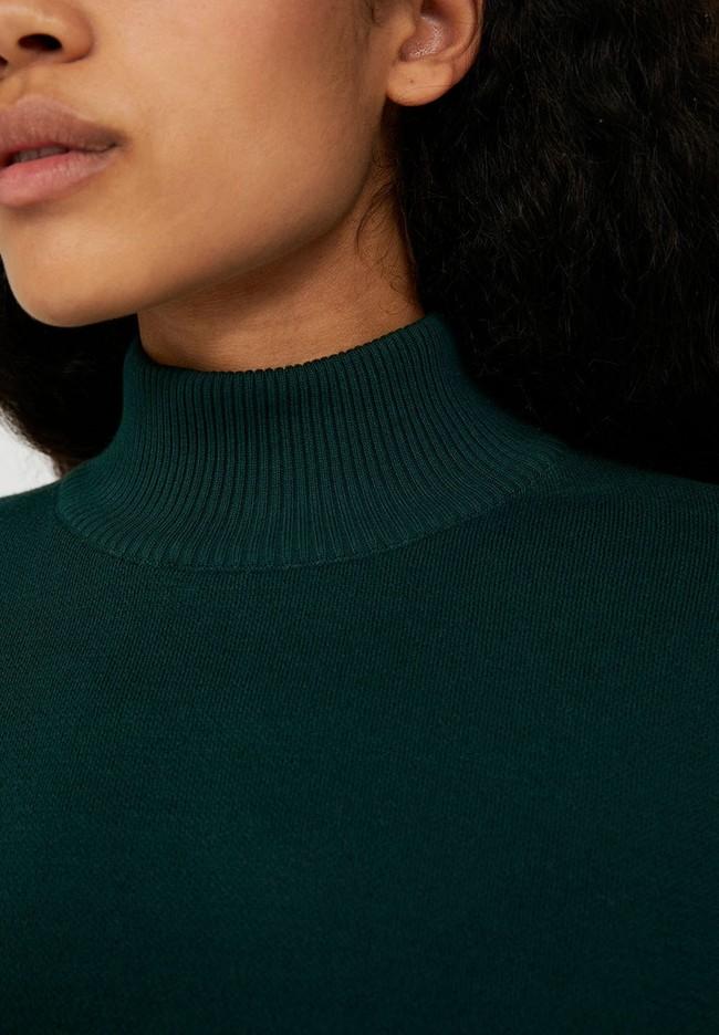 Pull ample à col cheminée vert bouteille en coton bio - yunaa - Armedangels num 3