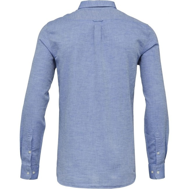 Chemise bleu tissé en coton bio et lin - structured shirt - Knowledge Cotton Apparel num 1