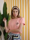 T-shirt brodé corail en coton bio - rose - Johnny Romance - 1
