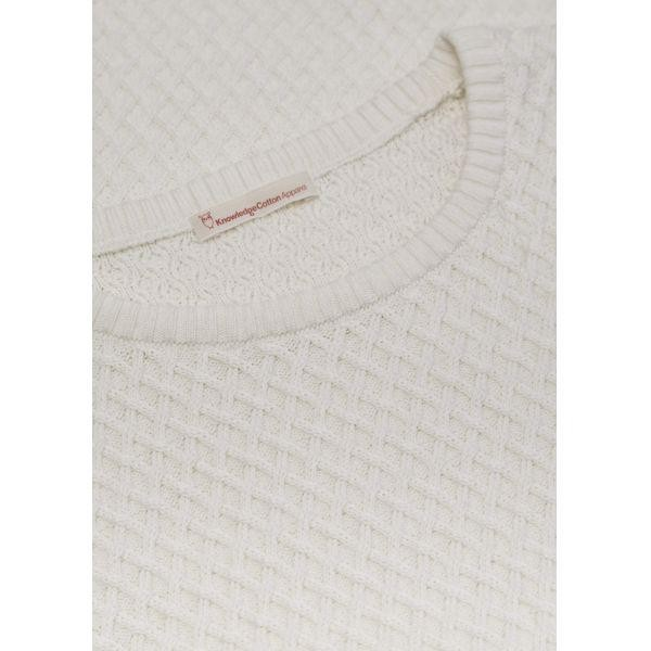 Pull blanc en coton bio - small diamond knit - Knowledge Cotton Apparel num 3