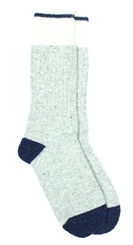 Chaussettes thalweg - laine bleu & gris clair - Maison Izard