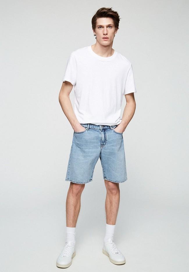 Short jean bleu clair délavé en coton bio - haauke - Armedangels num 3