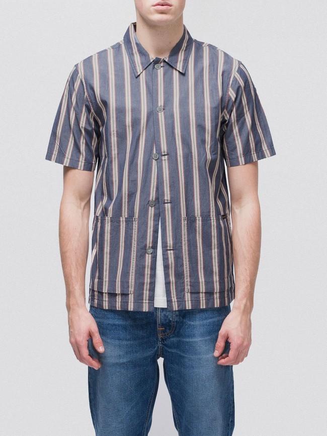 Chemise manches courtes rayée en coton bio - svante cuban - Nudie Jeans num 2