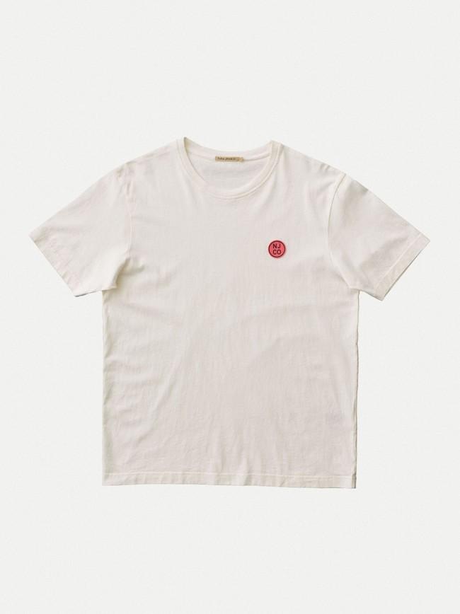 T-shirt ample blanc logo rose en coton bio - uno njco circle - Nudie Jeans num 4