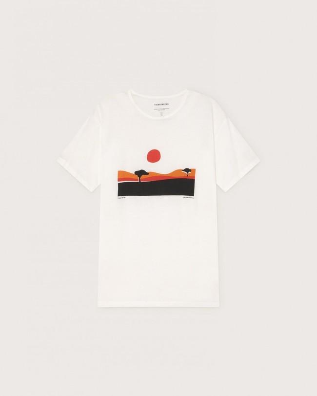 T-shirt blanc imprimé en coton bio - serengueti - Thinking Mu num 4