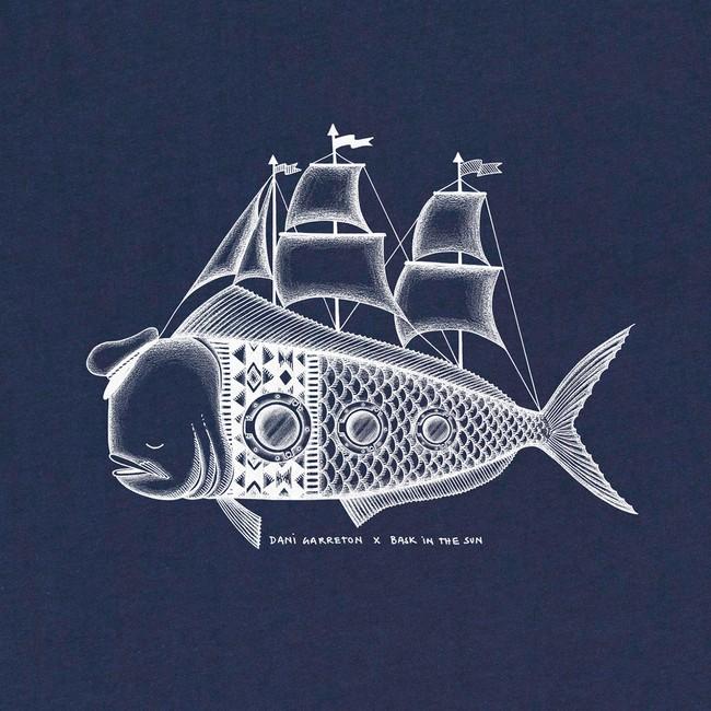 T-shirt en coton bio navy dorado - Bask in the Sun num 2