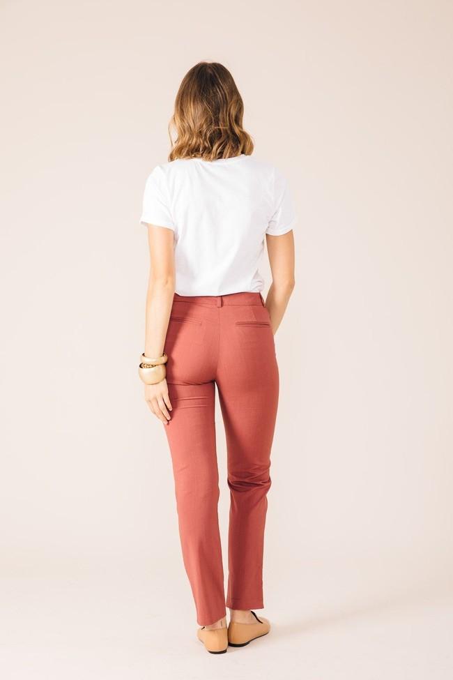 Pantalon tailleur new-york rose brique - 17h10 num 2