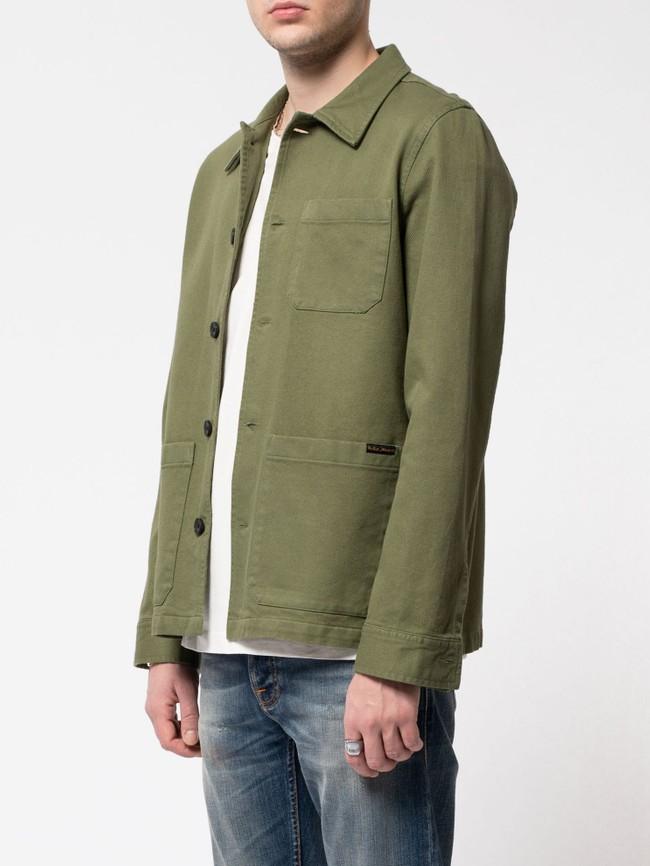 Veste de travail verte en coton bio - barney worker - Nudie Jeans num 1