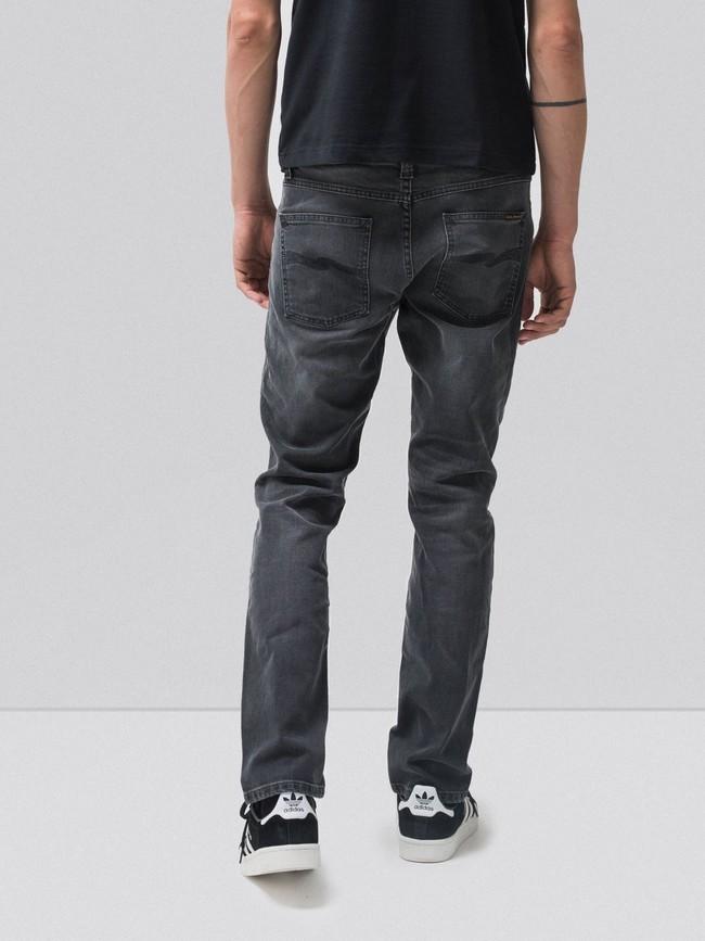 Jean slim gris délavé en coton bio - lean dean mono grey - Nudie Jeans num 1