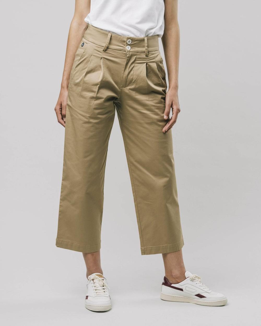 Highwaist pleated pants beige - Brava Fabrics