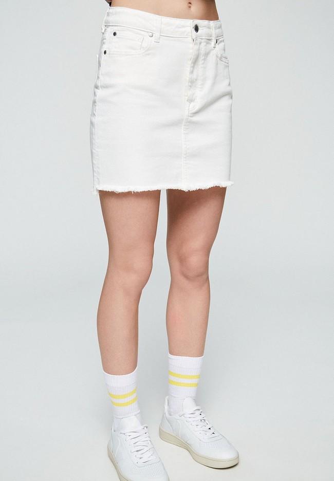 Jupe en jean blanc en coton bio - liaara - Armedangels