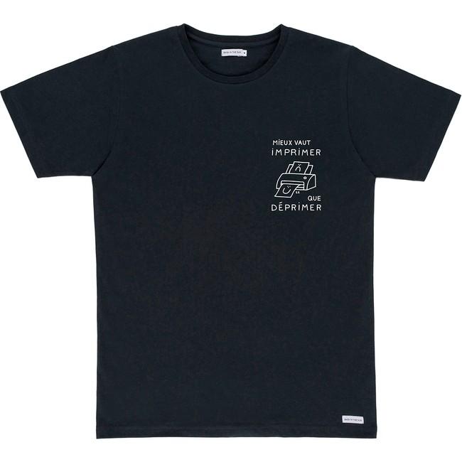 T-shirt en coton bio black printer - Bask in the Sun