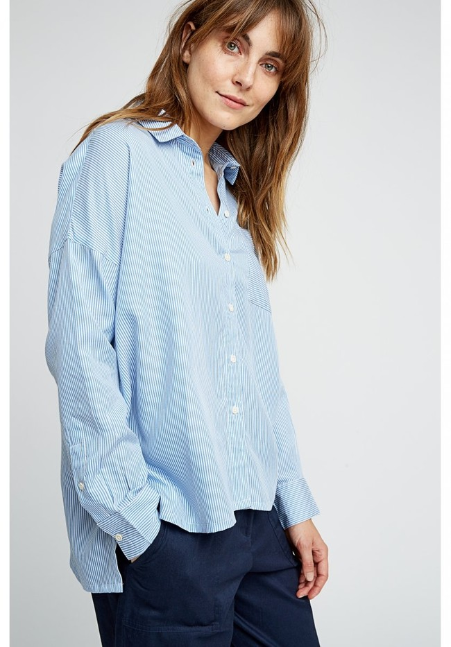 Chemise rayée bleu ciel en tencel - alice - People Tree num 1
