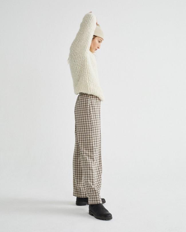 Pull à col cheminée blanc en laine d'alpaga et pet recyclé - cotys - Thinking Mu num 1