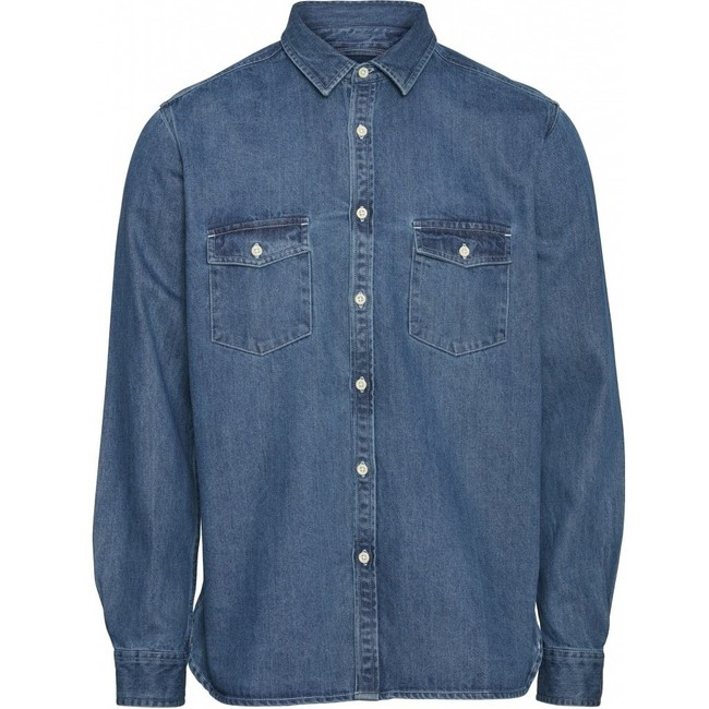Chemise bleu jean en coton bio - larch - Knowledge Cotton Apparel