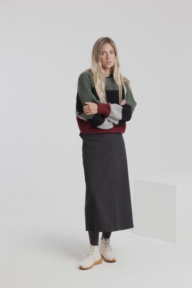 Jupe longue twill noire en coton bio - valentina - Thinking Mu num 3