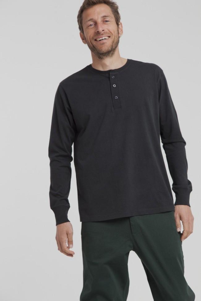 T-shirt manches longues noir en coton bio - brad - Thinking Mu