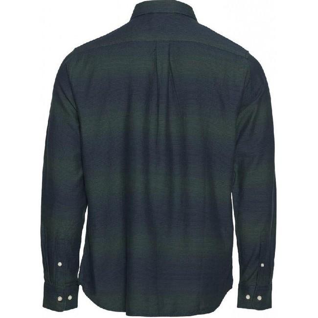 Chemise rayée vert et marine en coton bio - elder - Knowledge Cotton Apparel num 1