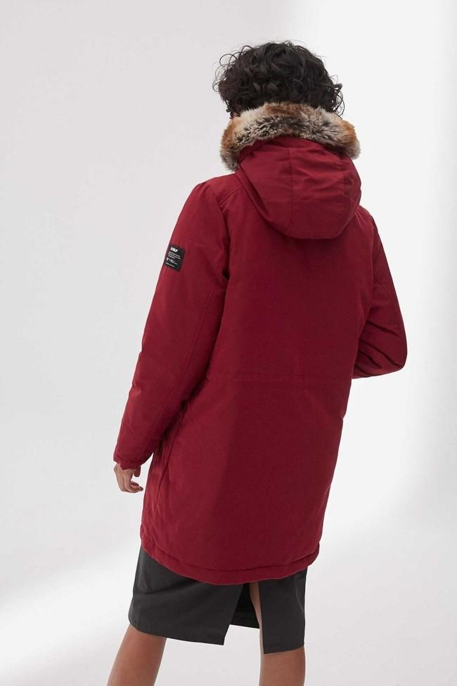 Manteau long rouge en polyester recyclé - livorno - Ecoalf num 1