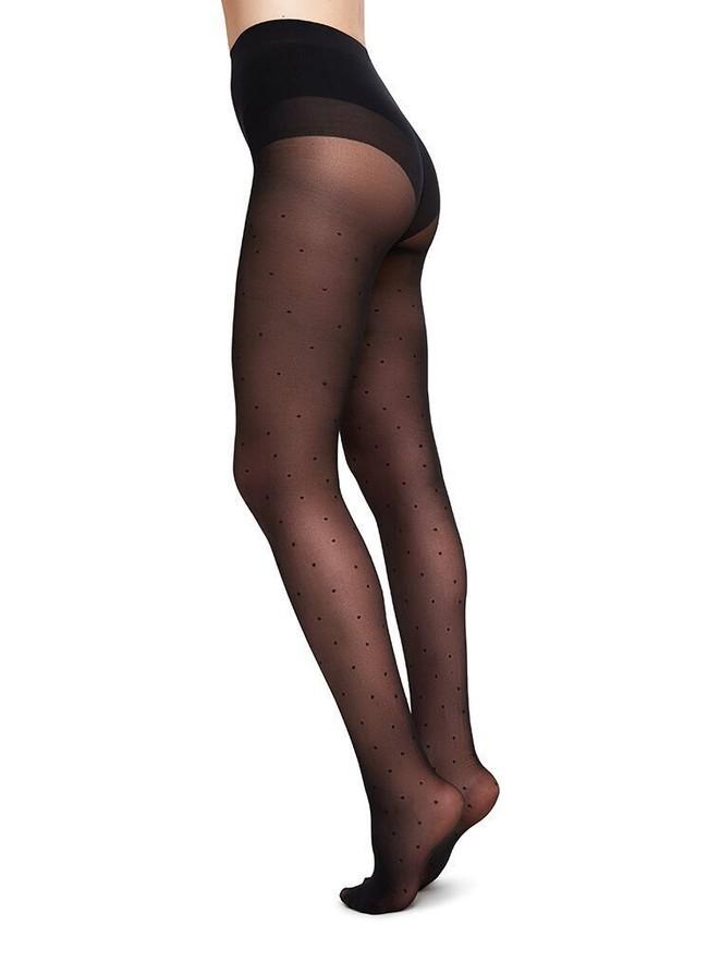 Collants à pois 40 deniers noirs recyclés - doris - Swedish Stockings
