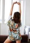 Kimono cassis // imprimé fleurs - Bagarreuse - 4