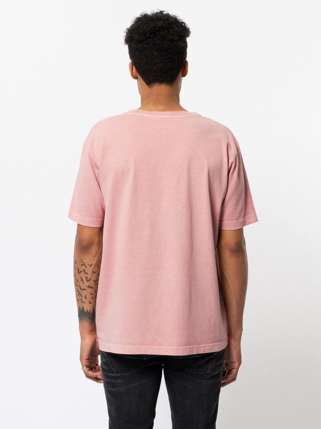 T-shirt ample rose logo blanc en coton bio - uno njco circle - Nudie Jeans num 2