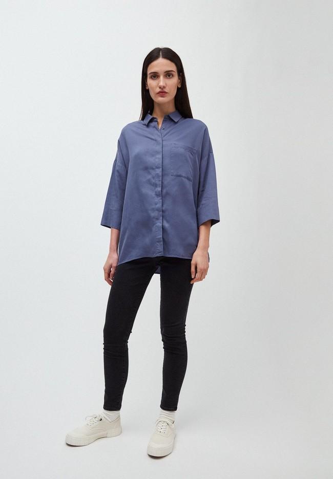 Chemise à manches courtes bleue en tencel - cassandraa - Armedangels num 3