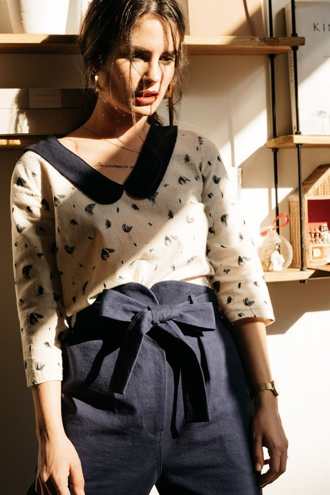 Pantalon  marine en coton bio - Atelier Unes