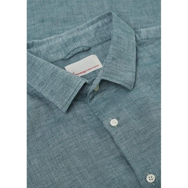 Chemise vert tissé en coton bio - structured shirt - Knowledge Cotton Apparel num 1