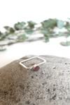 Bague carrée béton et argent - rouge rubis - Elle & Sens - 3