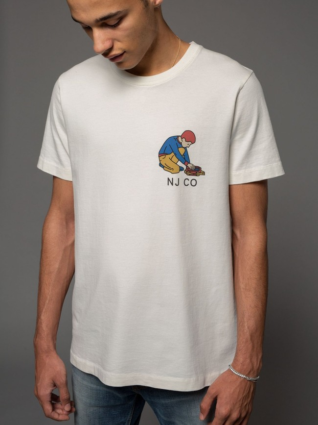 T-shirt blanc avec logo - roy multi logo boy - Nudie Jeans num 2
