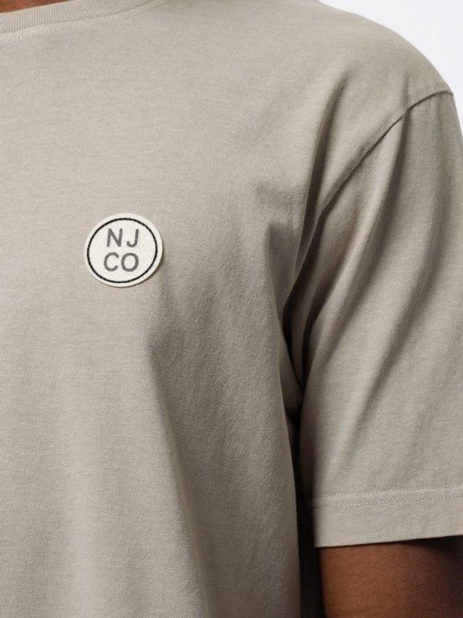 T-shirt ample taupe logo blanc en coton bio - uno njco circle - Nudie Jeans num 4