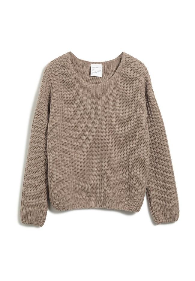Pull ample beige foncé maille en coton et laine bio - saadie - Armedangels num 4