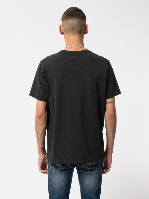 T-shirt noir imprimé en coton bio - roy smoke signals back - Nudie Jeans num 2