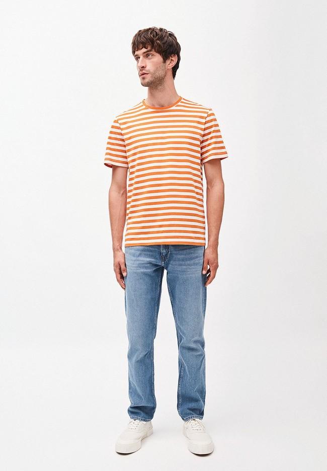 T-shirt rayé orange et blanc en coton bio - jaames breton - Armedangels num 3
