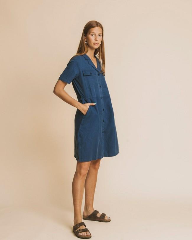 Robe bleu canard en chanvre, coton bio et tencel - karen - Thinking Mu num 1