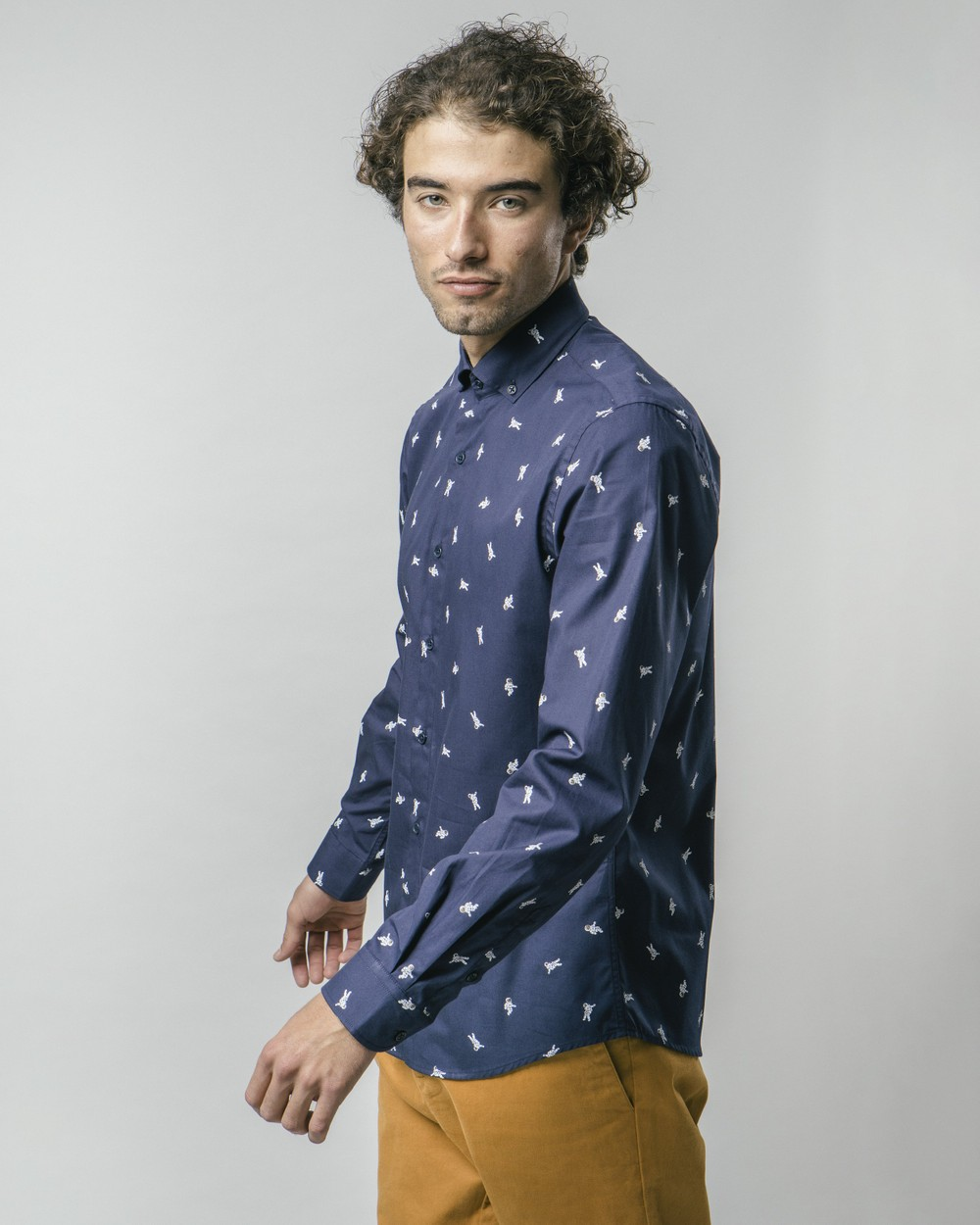 Man on the moon white printed shirt - Brava Fabrics