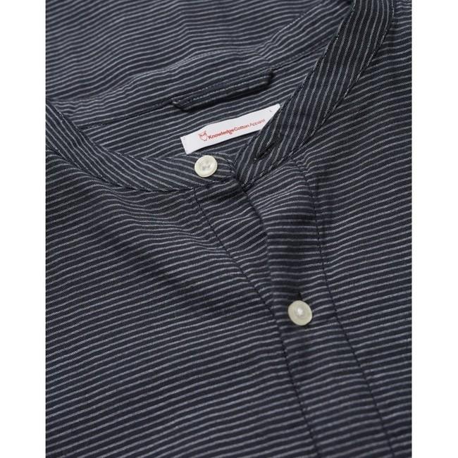 Chemise col mao rayée bleu nuit en coton bio - larch - Knowledge Cotton Apparel num 3