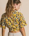 Blouse jaune imprimé fleurs en coton bio - flowers lomami - Thinking Mu - 4