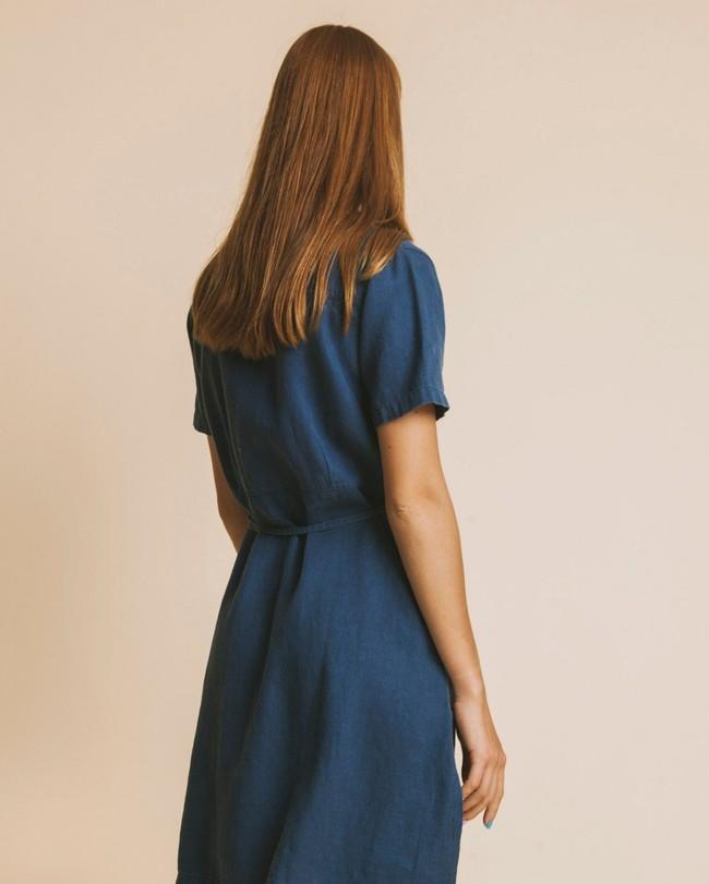 Robe bleu canard en chanvre, coton bio et tencel - karen - Thinking Mu num 3