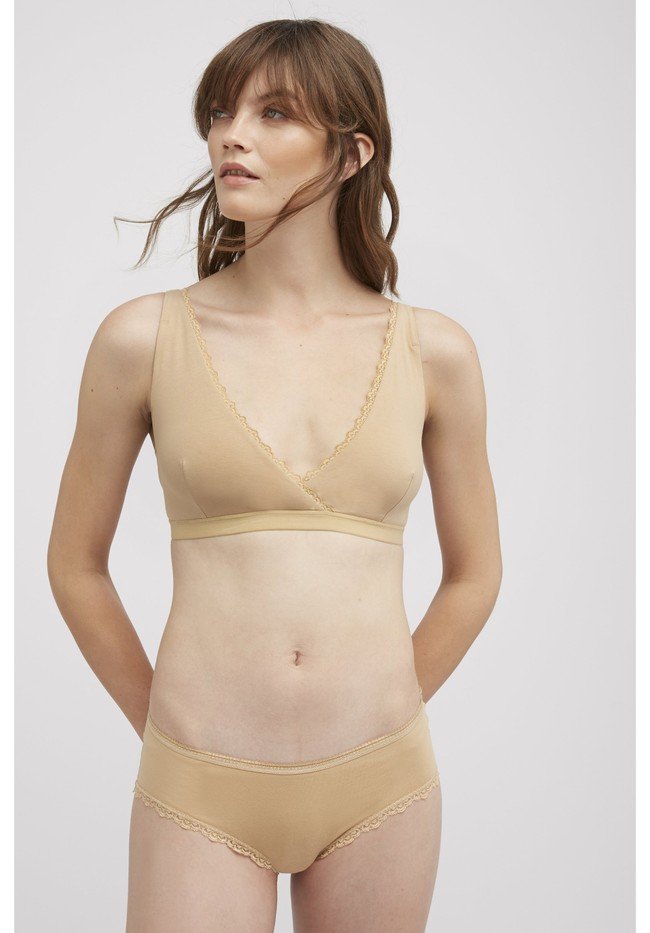 Bralette beige en coton bio - People Tree