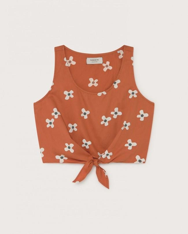 Crop top terracotta motif fleurs en coton - bambili - Thinking Mu num 4