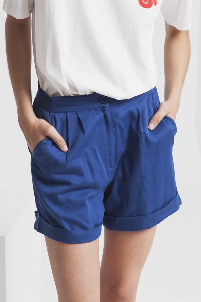 Short uni bleu en coton bio - mamma - Thinking Mu