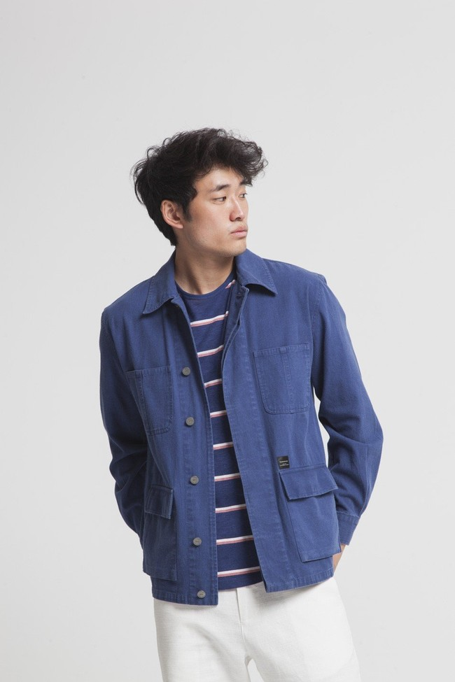 Veste bleue en coton bio - blue james - Thinking Mu