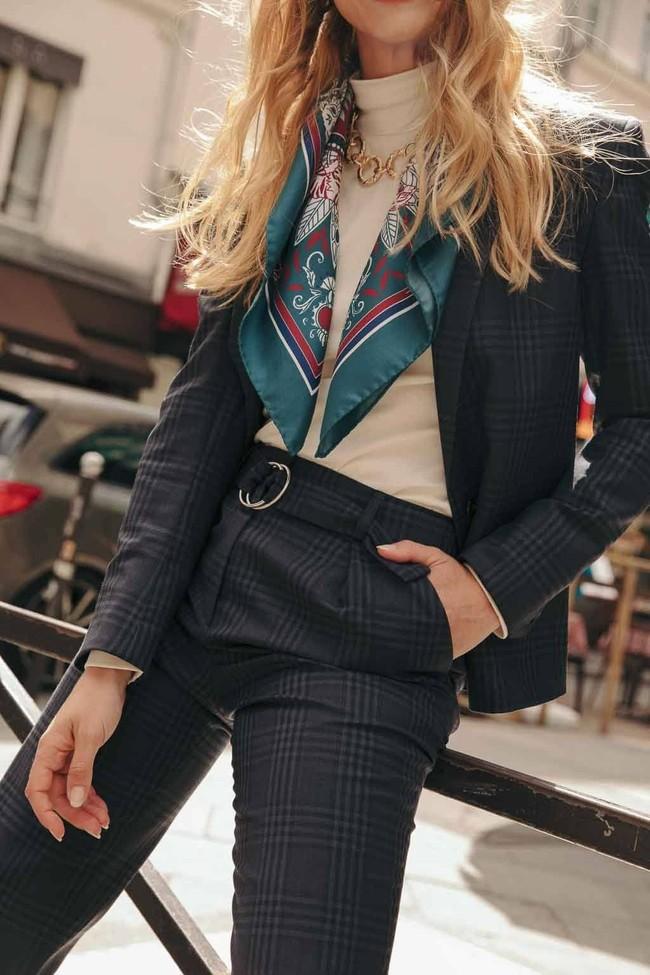 Pantalon tailleur casablanca tartan bleu - 17h10 num 5
