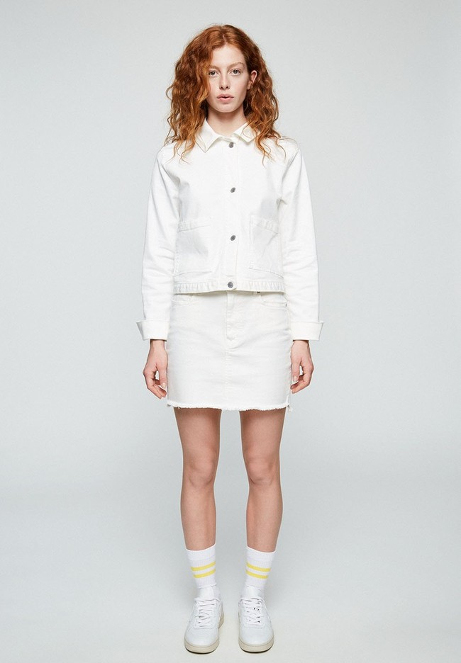 Jupe en jean blanc en coton bio - liaara - Armedangels num 1