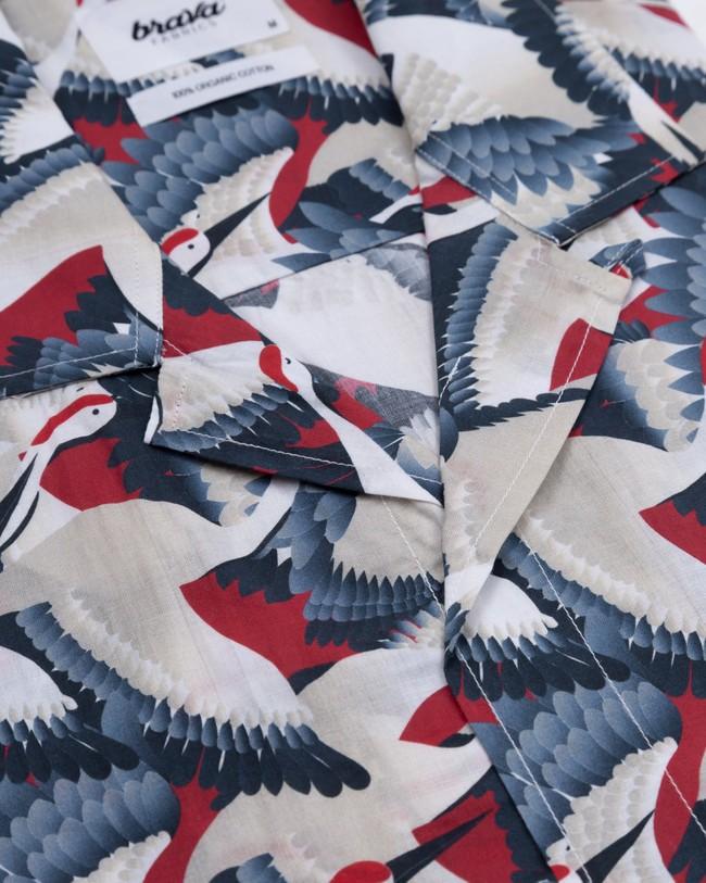 Crane for luck aloha shirt - Brava Fabrics num 2