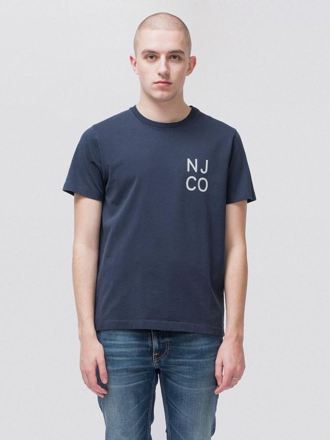 T-shirt bleu marine en coton bio - roy - Nudie Jeans