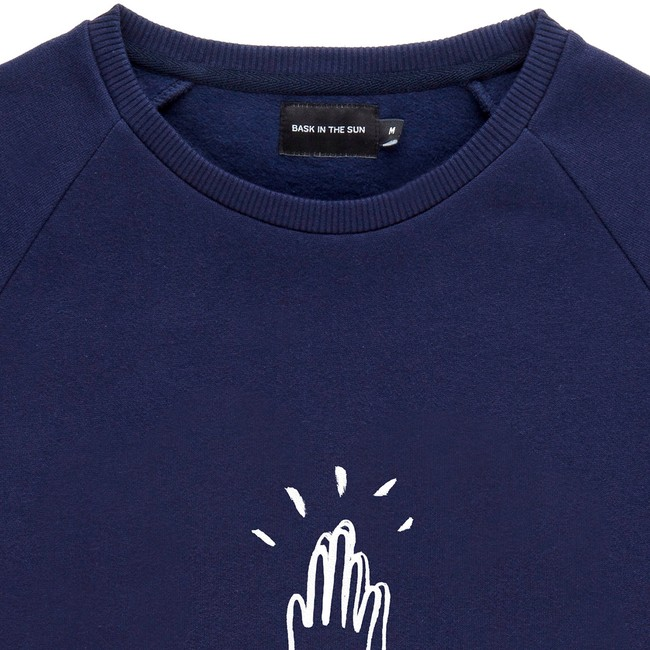 Sweat en coton bio navy high five - Bask in the Sun num 1