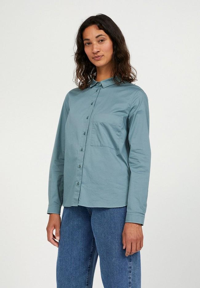 Chemise à manches longues bleue en coton bio - pernillaa - Armedangels